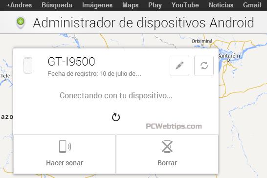¿Cómo rastrear el equipo móvil por medio de una cuenta Gmail?(android 4.x)
