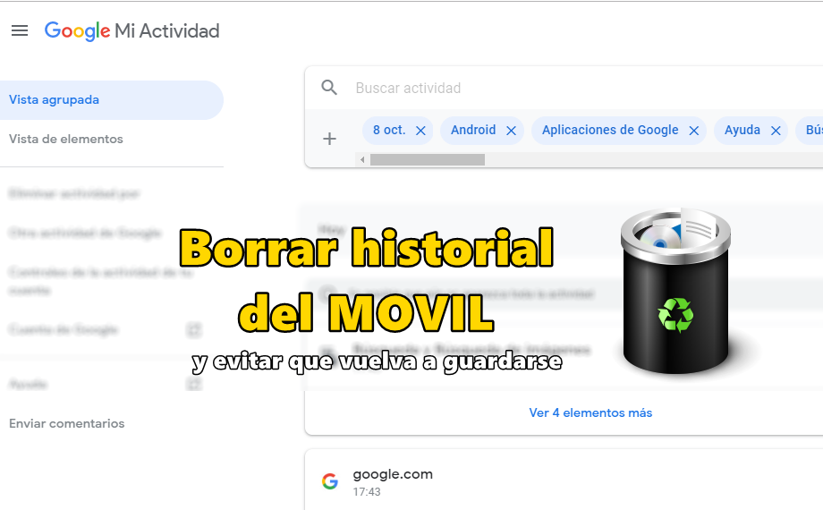 borrar historial de google
